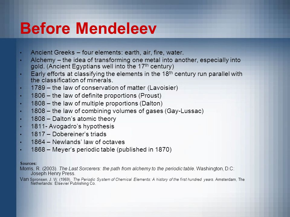 Before Mendeleev Ancient Greeks – four elements: earth, air, fire, water.