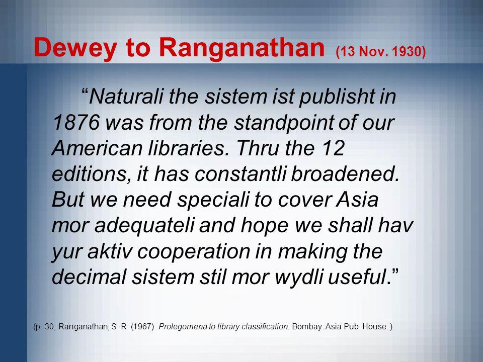 Dewey to Ranganathan (13 Nov.