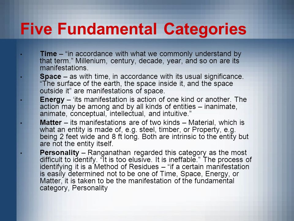 Five Fundamental Categories Time – in accordance with what we commonly understand by that term. Millenium, century, decade, year, and so on are its manifestations.