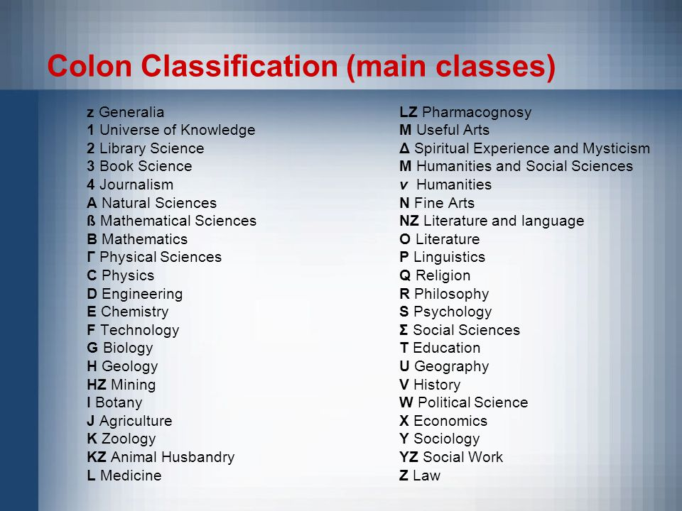 Colon Classification (main classes) z Generalia 1 Universe of Knowledge 2 Library Science 3 Book Science 4 Journalism A Natural Sciences ß Mathematical Sciences B Mathematics Г Physical Sciences C Physics D Engineering E Chemistry F Technology G Biology H Geology HZ Mining I Botany J Agriculture K Zoology KZ Animal Husbandry L Medicine LZ Pharmacognosy M Useful Arts Δ Spiritual Experience and Mysticism Μ Humanities and Social Sciences v Humanities N Fine Arts NZ Literature and language O Literature P Linguistics Q Religion R Philosophy S Psychology Σ Social Sciences T Education U Geography V History W Political Science X Economics Y Sociology YZ Social Work Z Law
