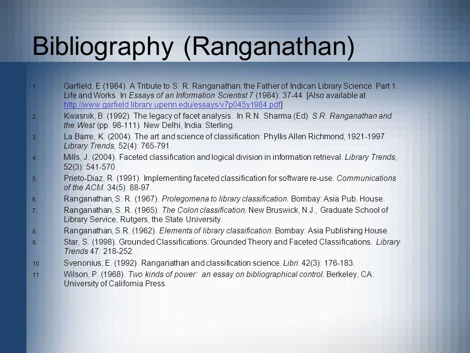 Bibliography (Ranganathan) 1. Garfield, E (1984).