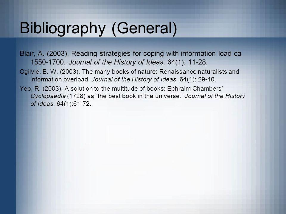 Bibliography (General) Blair, A. (2003).