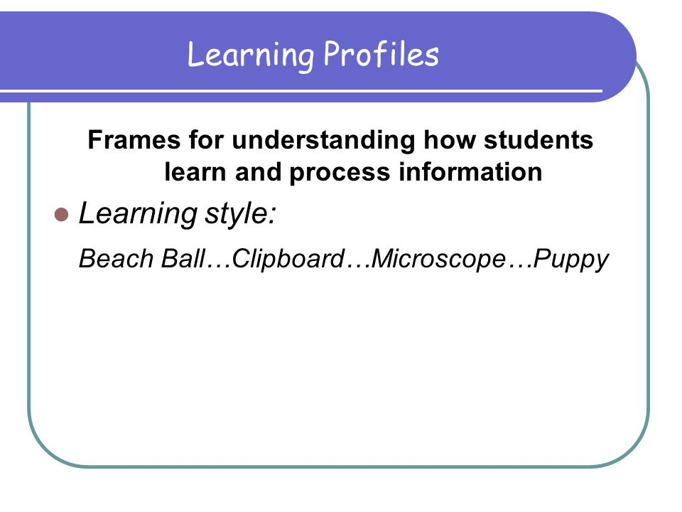 Learning Profiles in the Classroom A Step Further: Connecting to Technology