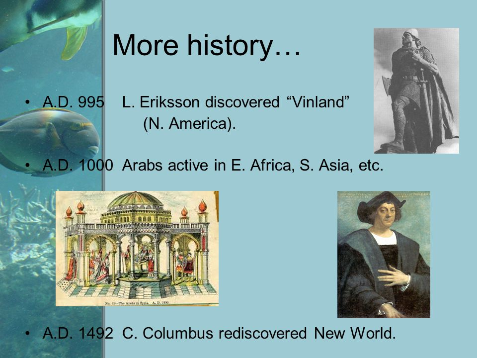 "More history… A.D. 995 L. Eriksson discovered ""Vinland"" (N. America). A.D. 1000 Arabs active in E. Africa, S. Asia, etc. A.D. 1492 C. Columbus redisco"