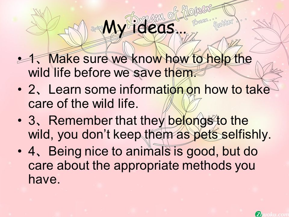 My ideas… 1 、 Make sure we know how to help the wild life before we save them.