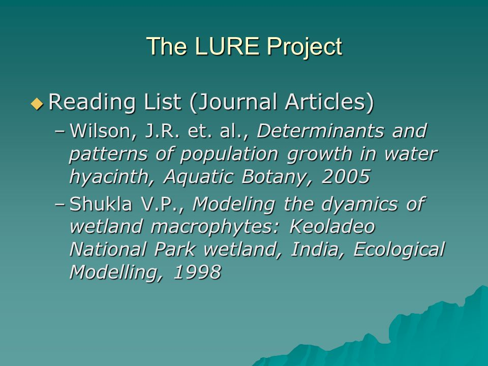 The LURE Project  Reading List (Journal Articles) –Wilson, J.R.
