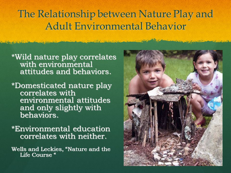 The Relationship between Nature Play and Adult Environmental Behavior *Wild nature play correlates with environmental attitudes and behaviors.