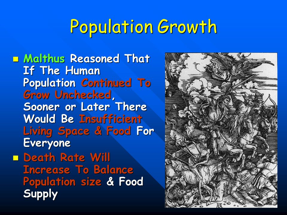 25 Population Growth Darwin Realized Malthus's Principles Were Visible In Nature Darwin Realized Malthus's Principles Were Visible In Nature Plants & Animals Produce Far More Offspring Than Can Be Supported Plants & Animals Produce Far More Offspring Than Can Be Supported –Most Die –If They Didn't – Earth Would Be Overrun