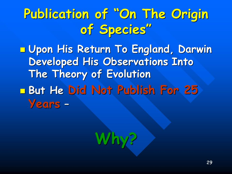 30 Publication of On The Origin of Species He Refused To Publish Until He Received An Essay From Alfred Wallace He Refused To Publish Until He Received An Essay From Alfred Wallace –Fellow Naturalist –Independently Developed The Same Theory –After 25 Years, Someone Else Had Come To The Same Conclusions From Their Observations Of Nature