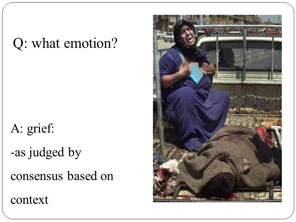 Q: what emotion A: grief: -as judged by consensus based on context