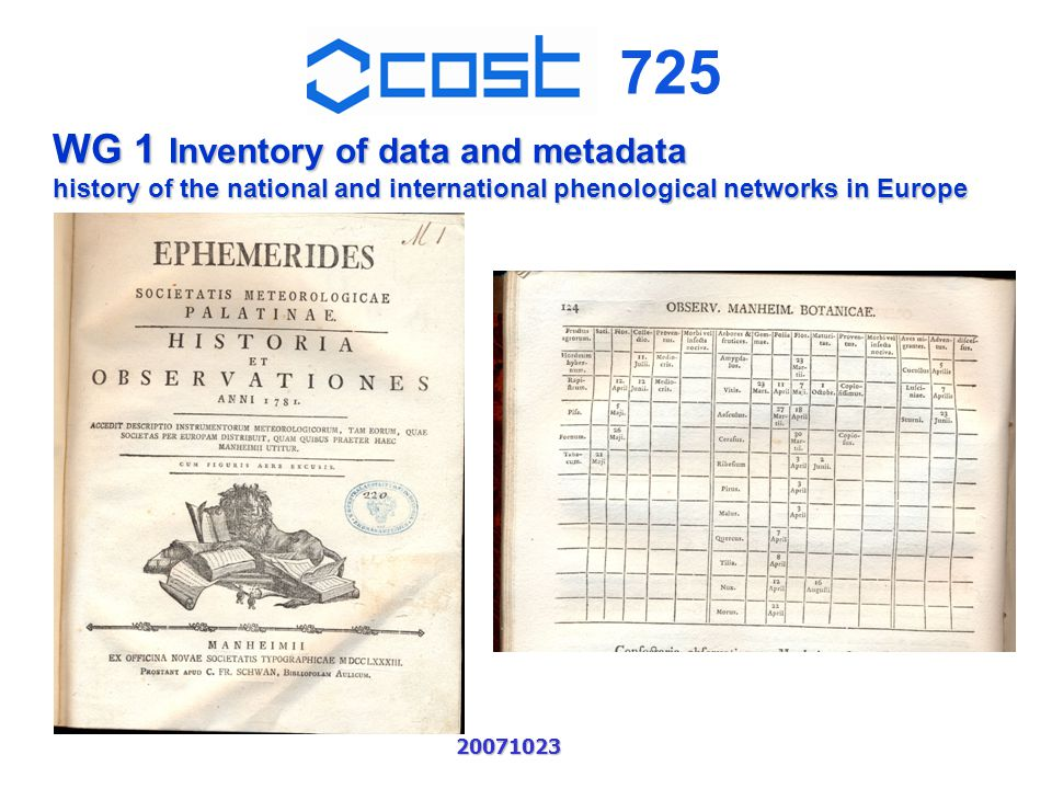725 20071023 WG 1 Inventory of data and metadata history of the national and international phenological networks in Europe Ephemerides