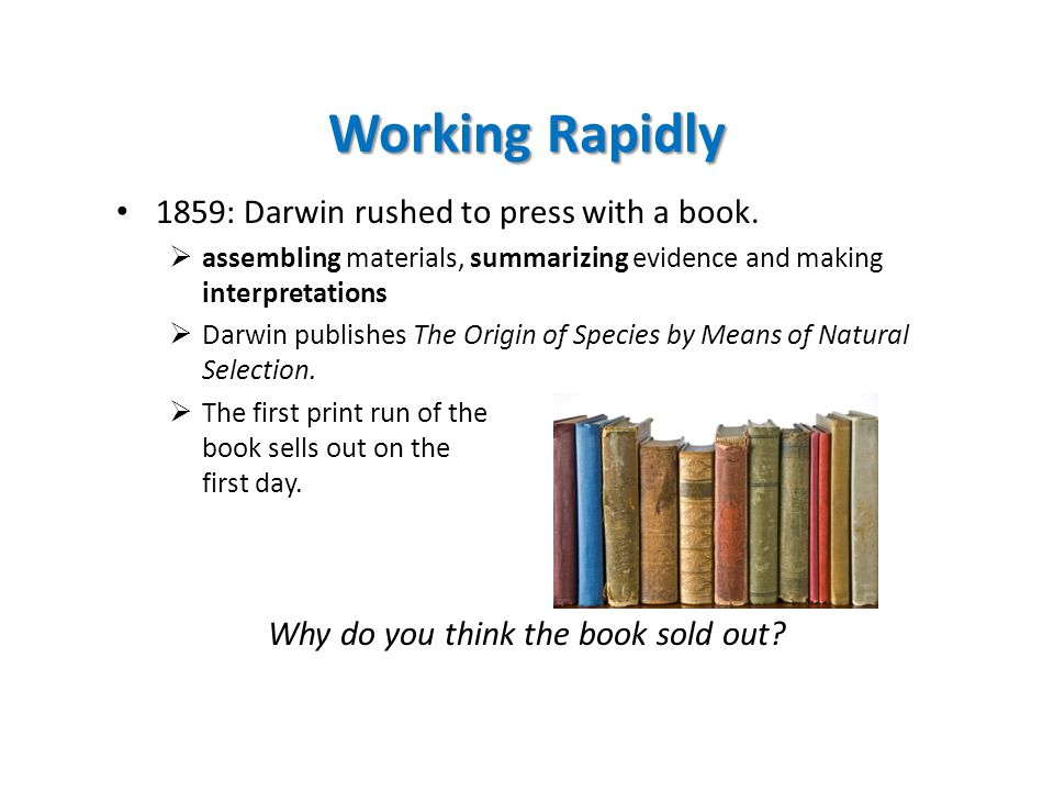 Working Rapidly 1859: Darwin rushed to press with a book.