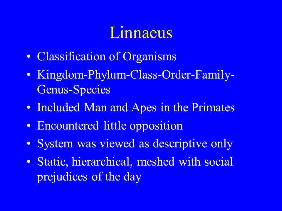 Linnaeus Classification of Organisms Kingdom-Phylum-Class-Order-Family- Genus-Species Included Man and Apes in the Primates Encountered little opposition System was viewed as descriptive only Static, hierarchical, meshed with social prejudices of the day