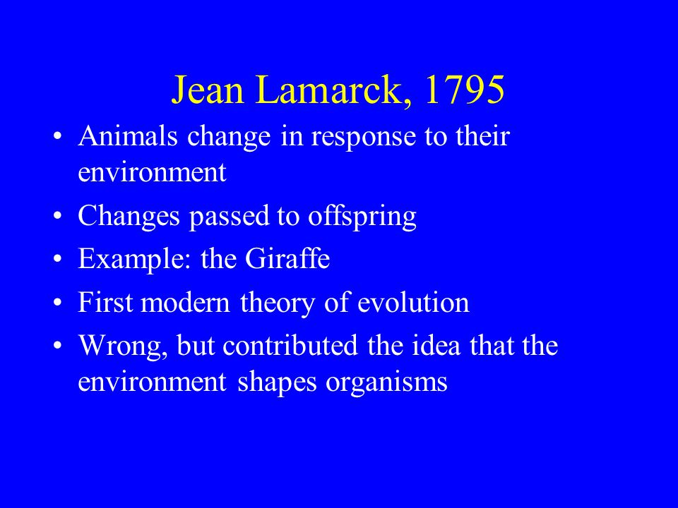 Jean Lamarck, 1795 Animals change in response to their environment Changes passed to offspring Example: the Giraffe First modern theory of evolution Wrong, but contributed the idea that the environment shapes organisms