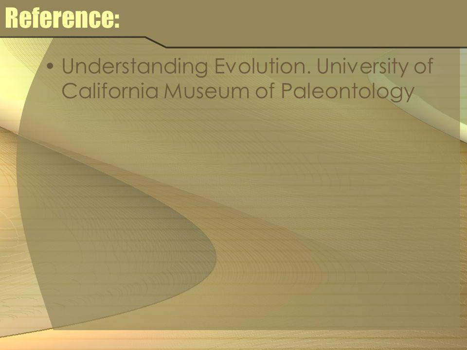 Reference: Understanding Evolution. University of California Museum of Paleontology