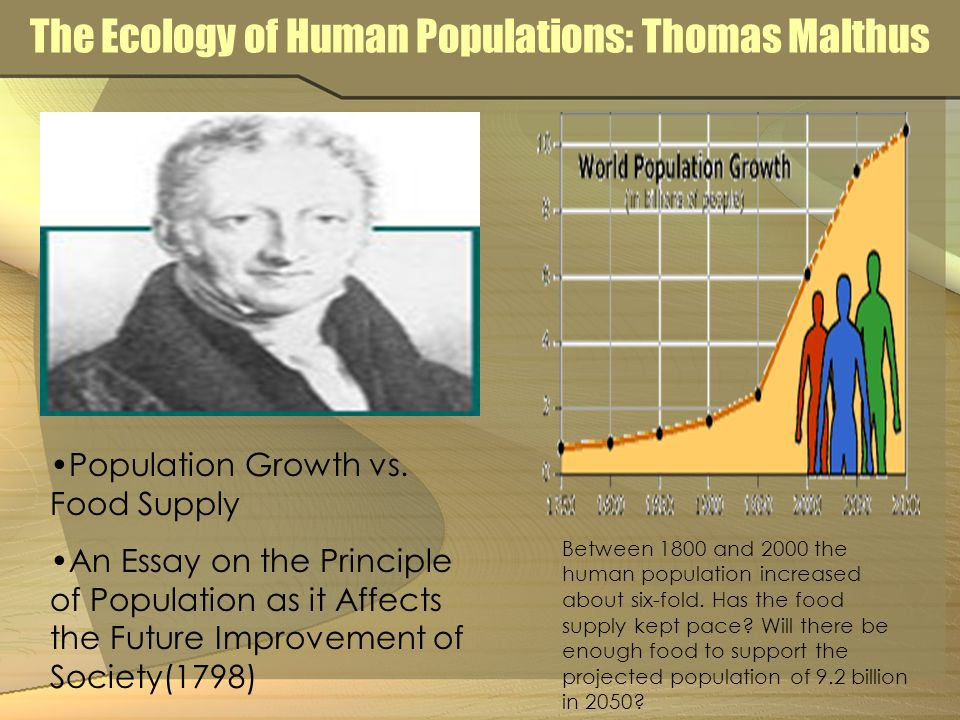The Ecology of Human Populations: Thomas Malthus Population Growth vs.