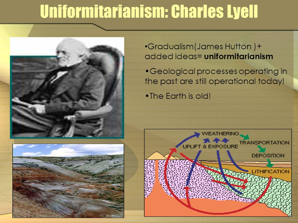 Uniformitarianism: Charles Lyell Gradualism(James Hutton )+ added ideas= uniformitarianism Geological processes operating in the past are still operational today.