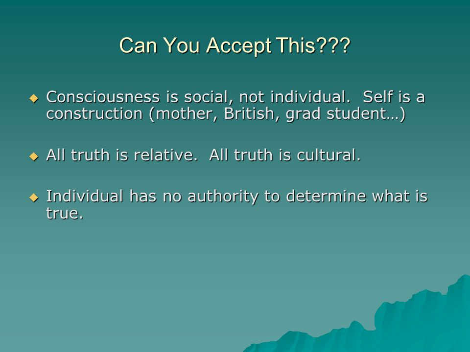 Can You Accept This??.  Consciousness is social, not individual.
