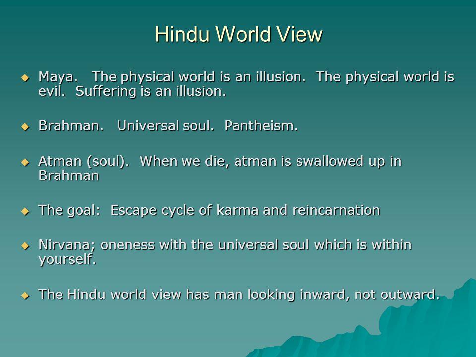 Hindu World View  Maya. The physical world is an illusion.
