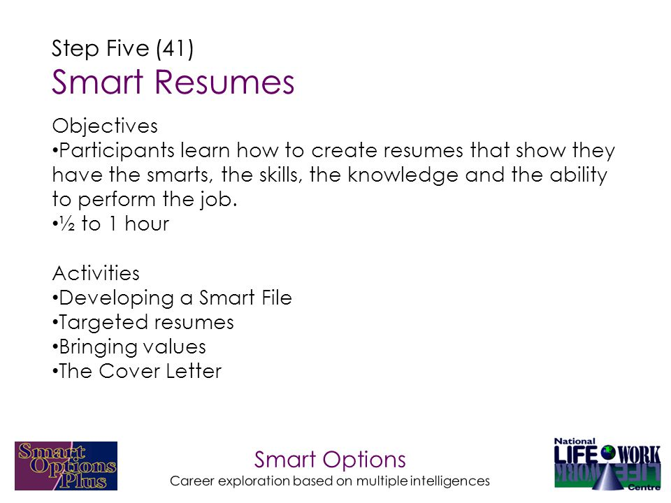 Smart Options Career exploration based on multiple intelligences Step Five (41) Smart Resumes Objectives Participants learn how to create resumes that show they have the smarts, the skills, the knowledge and the ability to perform the job.