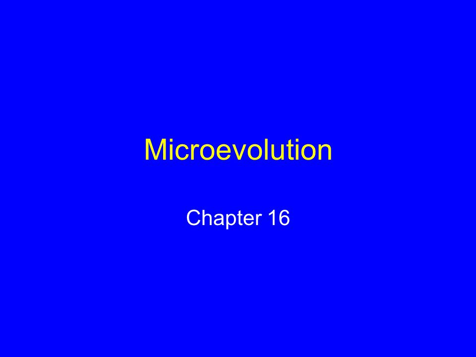 Microevolution Chapter 16