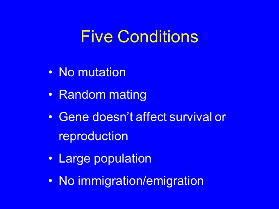 Five Conditions No mutation Random mating Gene doesn't affect survival or reproduction Large population No immigration/emigration