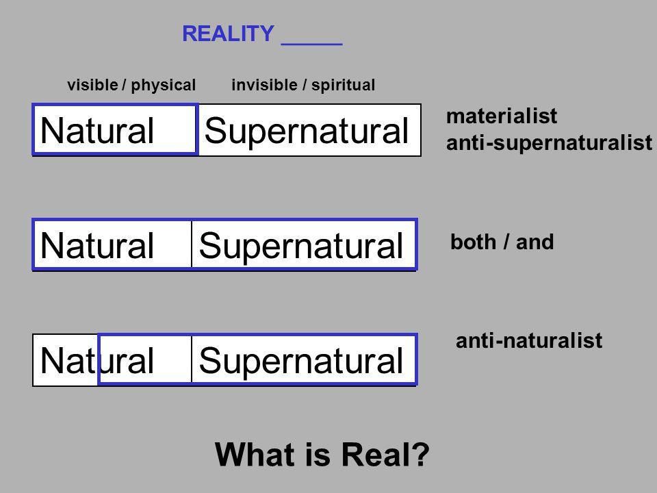 NaturalSupernatural REALITY _____ materialist anti-supernaturalist e.g, evolutionist visibleinvisible Natural Supernatural both / and anti-naturalist e.g.