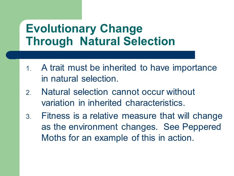 Evolutionary Change Through Natural Selection 1. A trait must be inherited to have importance in natural selection. 2. Natural selection cannot occur