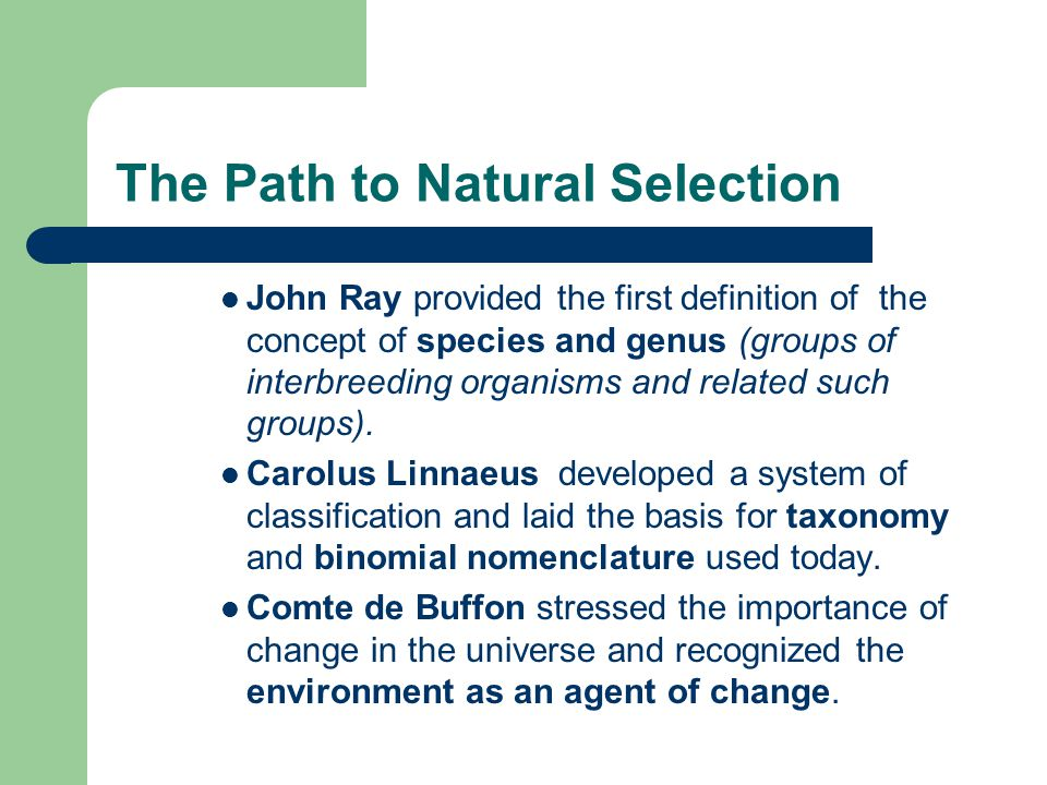 The Path to Natural Selection John Ray provided the first definition of the concept of species and genus (groups of interbreeding organisms and relate