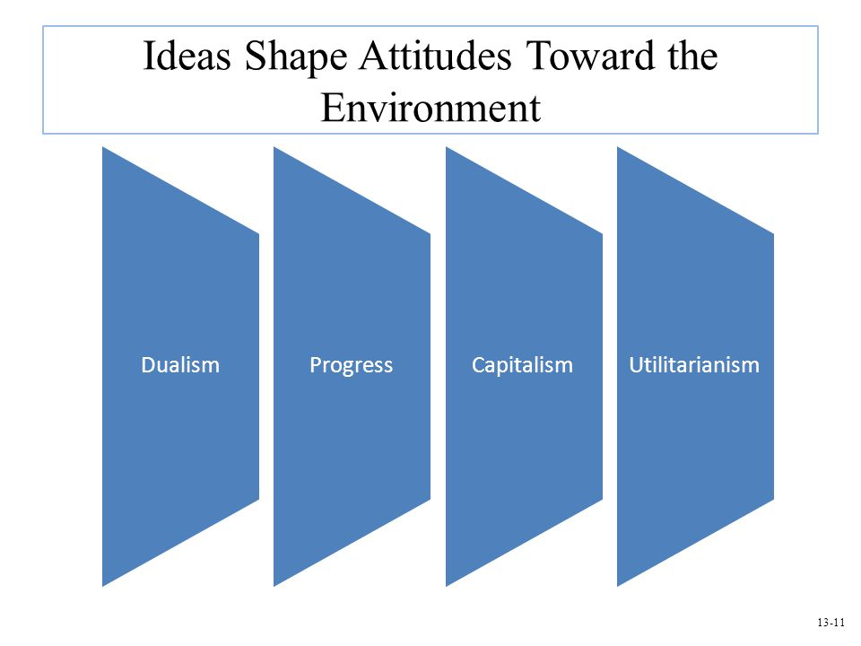 13-11 Ideas Shape Attitudes Toward the Environment DualismProgressCapitalismUtilitarianism