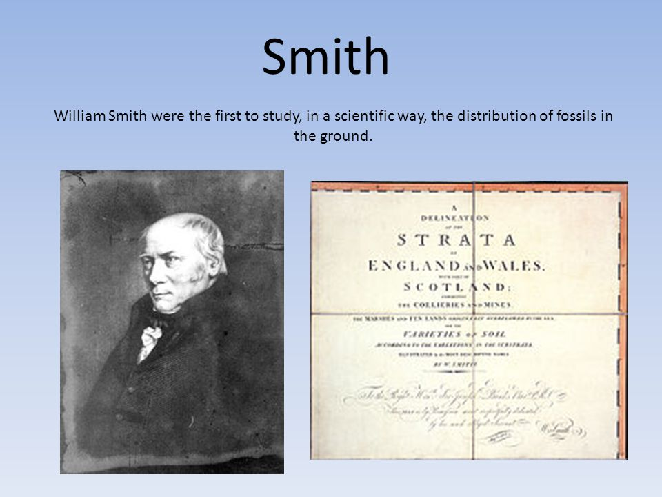 Smith William Smith were the first to study, in a scientific way, the distribution of fossils in the ground.