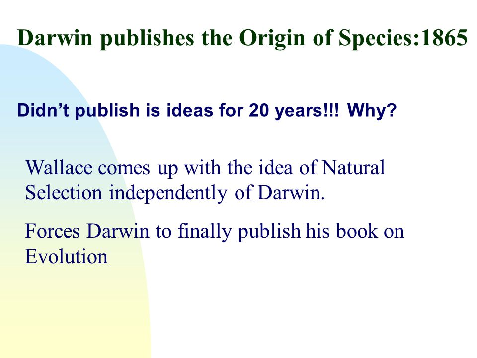 Darwin publishes the Origin of Species:1865 Didn't publish is ideas for 20 years!!! Why? Wallace comes up with the idea of Natural Selection independe