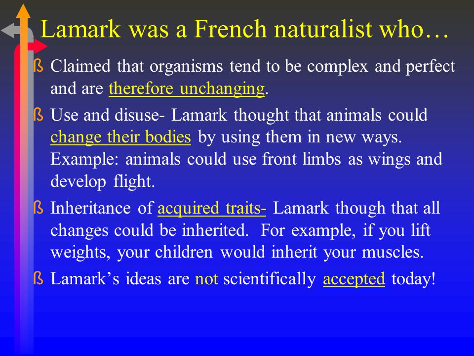 Lamark was a French naturalist who… ßClaimed that organisms tend to be complex and perfect and are therefore unchanging.