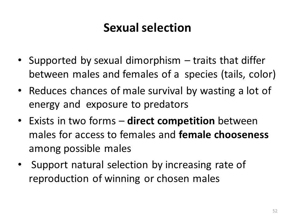 Sexual selection Supported by sexual dimorphism – traits that differ between males and females of a species (tails, color) Reduces chances of male sur