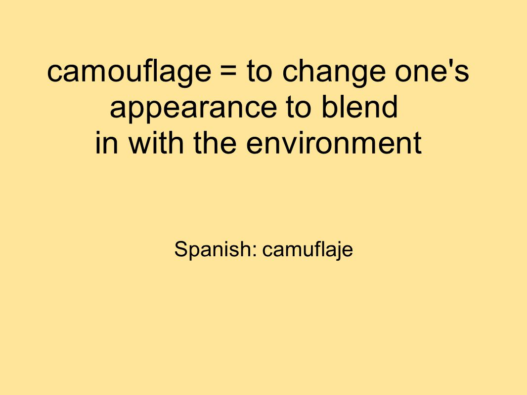 camouflage = to change one s appearance to blend in with the environment Spanish: camuflaje
