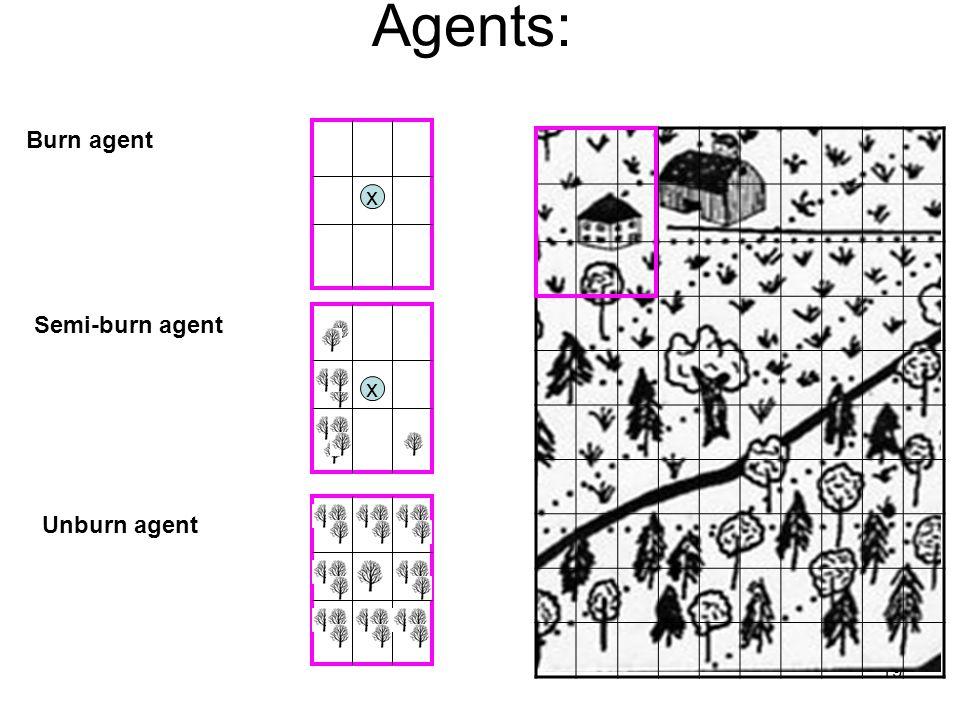 19 Agents: Burn agent Semi-burn agent Unburn agent x x