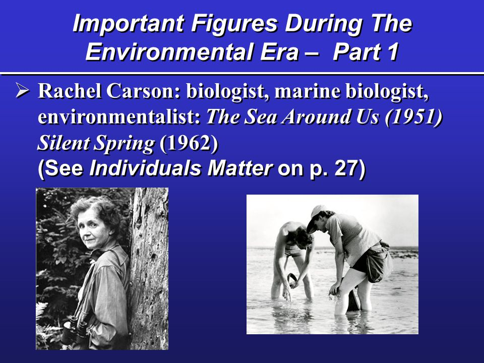 Important Figures During The Environmental Era – Part 1  Rachel Carson: biologist, marine biologist, environmentalist: The Sea Around Us (1951) Silent Spring (1962) (See Individuals Matter on p.