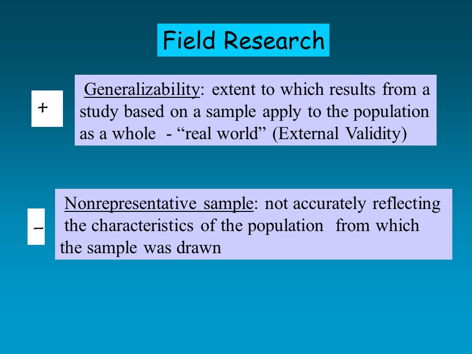 Field Research Generalizability: extent to which results from a study based on a sample apply to the population as a whole - real world (External Validity) Nonrepresentative sample: not accurately reflecting the characteristics of the population from which the sample was drawn + -