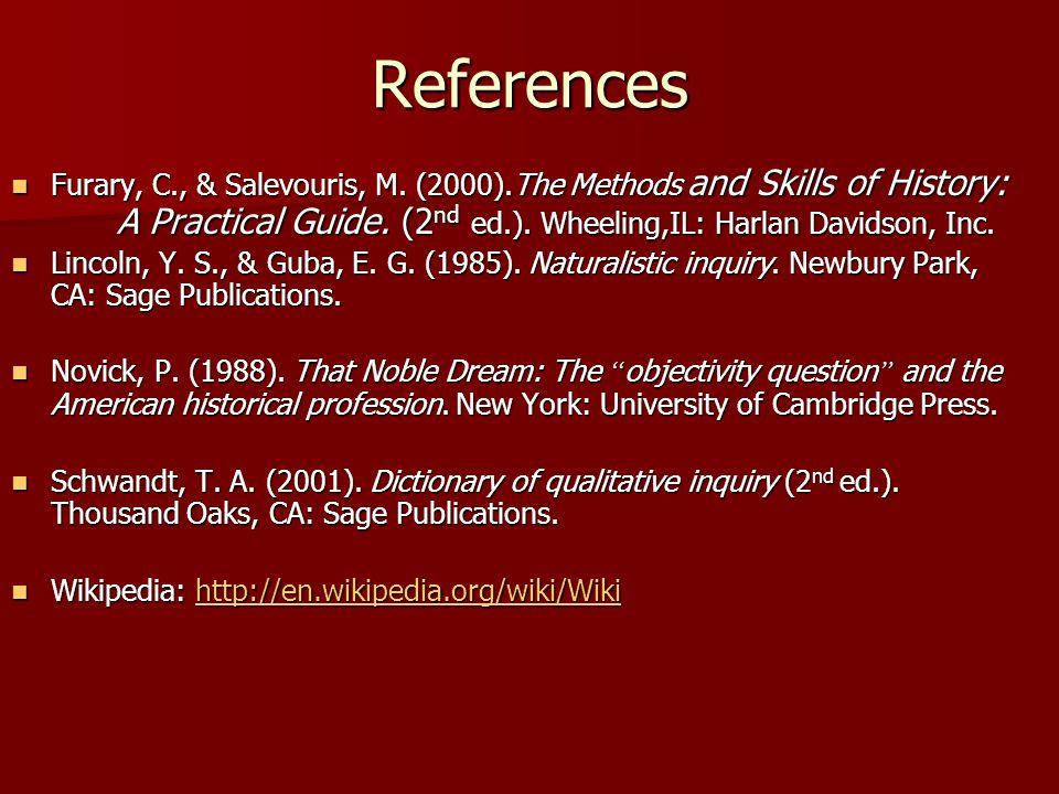 References Furary, C., & Salevouris, M.