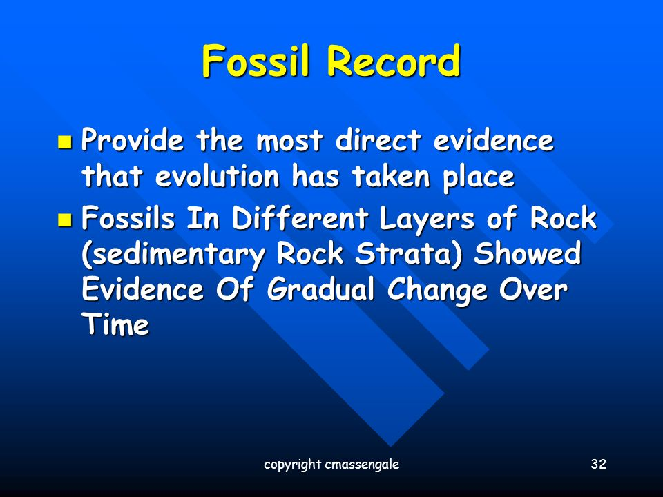32 Fossil Record Provide the most direct evidence that evolution has taken place Provide the most direct evidence that evolution has taken place Fossi
