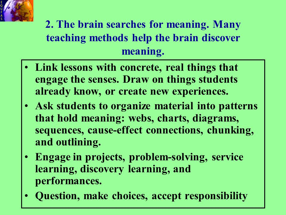 2.The brain searches for meaning. Many teaching methods help the brain discover meaning.
