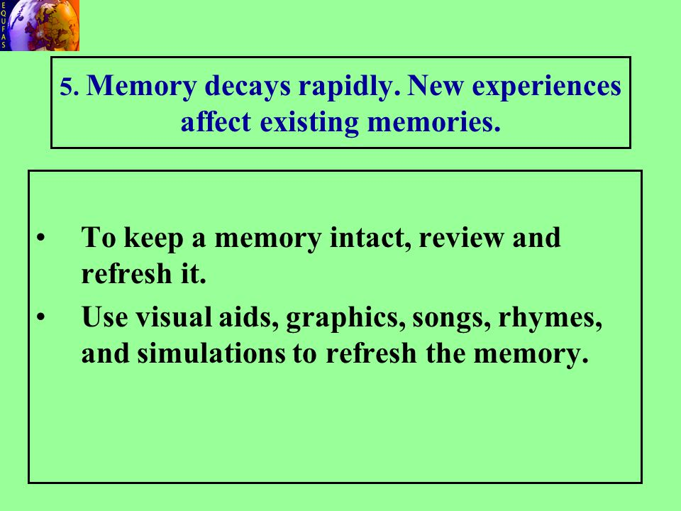 5.Memory decays rapidly. New experiences affect existing memories.