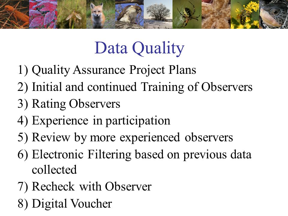 Data Quality 1)Quality Assurance Project Plans 2)Initial and continued Training of Observers 3)Rating Observers 4)Experience in participation 5)Review by more experienced observers 6)Electronic Filtering based on previous data collected 7)Recheck with Observer 8)Digital Voucher