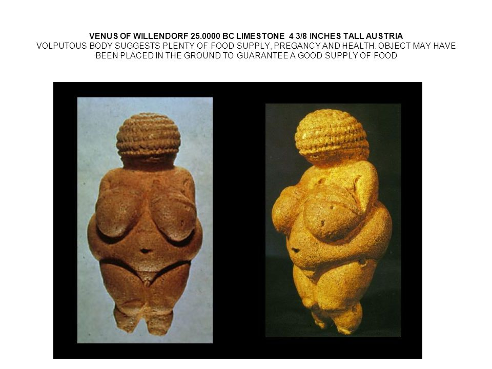 VENUS OF WILLENDORF 25.0000 BC LIMESTONE 4 3/8 INCHES TALL AUSTRIA VOLPUTOUS BODY SUGGESTS PLENTY OF FOOD SUPPLY, PREGANCY AND HEALTH.