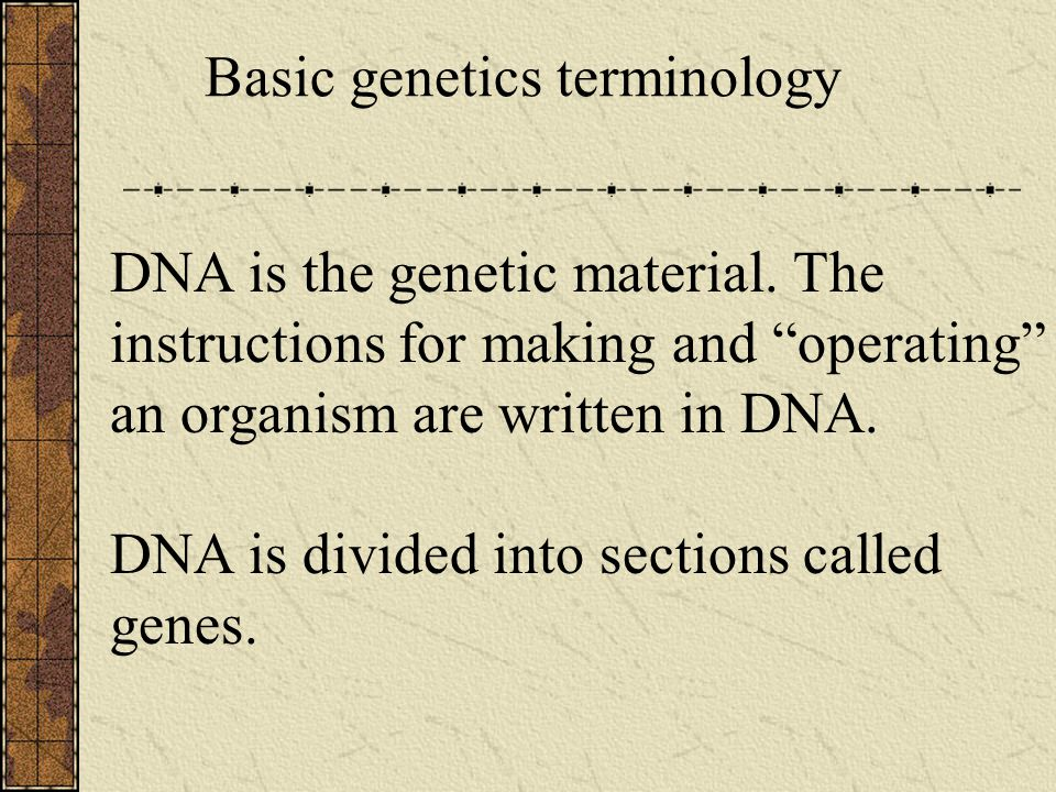DNA is the genetic material.