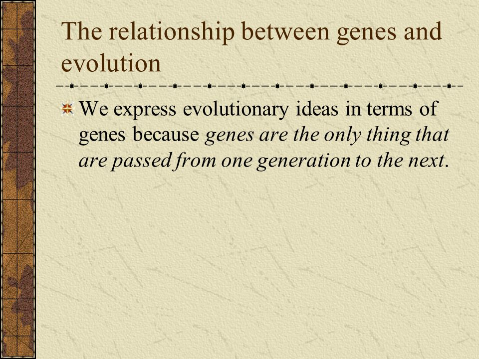 The relationship between genes and evolution We express evolutionary ideas in terms of genes because genes are the only thing that are passed from one generation to the next.