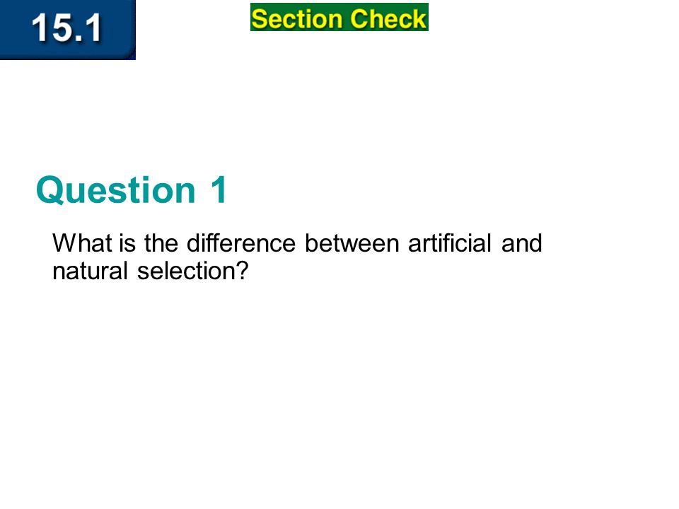 Section 1 Check Question 1 What is the difference between artificial and natural selection
