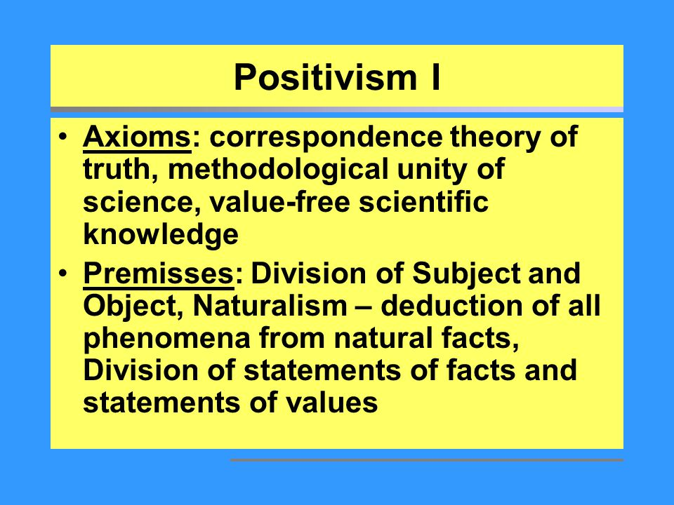 Positivism I Axioms: correspondence theory of truth, methodological unity of science, value-free scientific knowledge Premisses: Division of Subject a