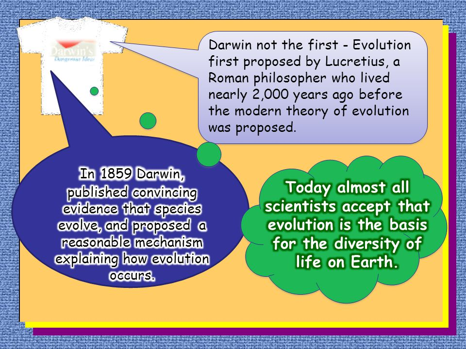 Darwin not the first - Evolution first proposed by Lucretius, a Roman philosopher who lived nearly 2,000 years ago before the modern theory of evoluti