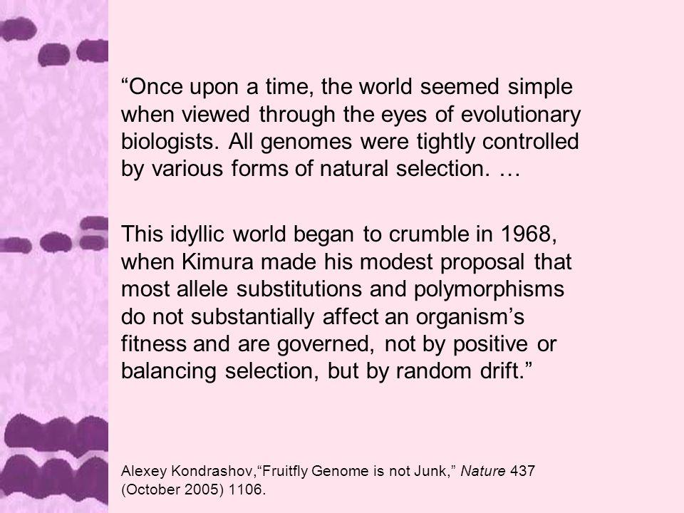 Motoo Kimura 1968 Evolutionary Rate at the Molecular Level, Nature 217: 624-626.